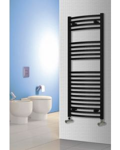 Reina Diva Steel Curved Black Heated Towel Rail
