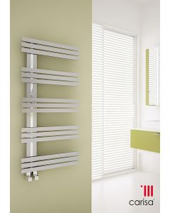 Carisa Alias Brushed Stainless Steel Designer Heated Towel Rail 1000mm x 500mm