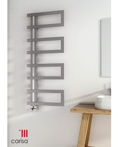 Carisa Arlen Brushed Stainless Steel Designer Heated Towel Rail 1000mm x 500mm