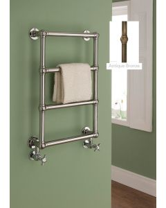 TRC Chalfont Steel Wall Mounted Traditional Heated Towel Rail 750mm x 500mm Antique Bronze With Ivory