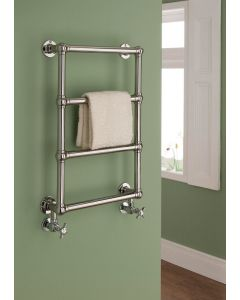 TRC Chalfont Steel Wall Mounted Traditional Heated Towel Rail 750mm x 500mm Chrome With White