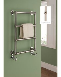 TRC Chalfont Steel Wall Mounted Traditional Heated Towel Rail 750mm x 500mm Nickel With White