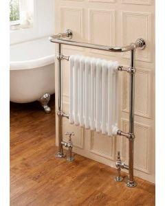 TRC Chalfont Steel Floor Standing Traditional Heated Towel Rail Antique Copper With Ivory