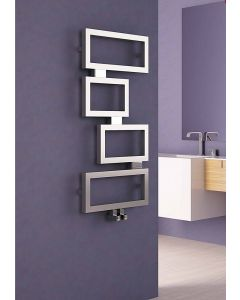 Carisa Clash Brushed Stainless Steel Designer Heated Towel Rail 920mm x 450mm