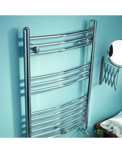 Kartell K-Rail 19mm Steel Curved Chrome Heated Towel Rail