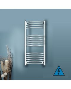 Kartell Electric Steel Curved Chrome Heated Towel Rail