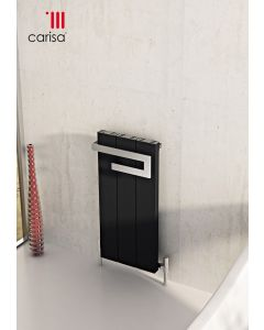 Carisa Elvino Bath Aluminium Black Vertical Designer Radiator 800mm x 370mm