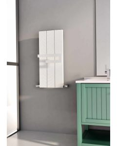 Carisa Elvino Bath Aluminium White Vertical Designer Radiator 800mm x 370mm