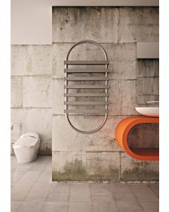 Carisa Exodus Brushed Stainless Steel Designer Heated Towel Rail 1170mm x 560mm