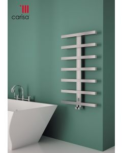Carisa Herring Brushed Stainless Steel Designer Heated Towel Rail 1000mm x 600mm