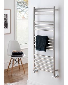 TRC Iris Vertical Polished Stainless Steel Designer Heated Towel Rail