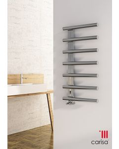Carisa Ivor Brushed Stainless Steel Designer Heated Towel Rail 1000mm x 500mm