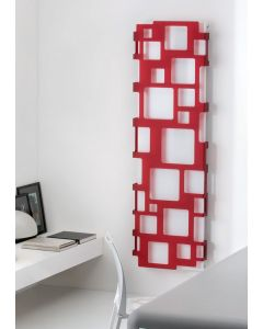 TRC Metacrylic Steel Red on White Printed Vertical Designer Radiator