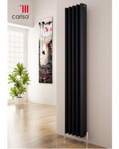 Carisa Oval Aluminium Black Vertical Designer Radiator