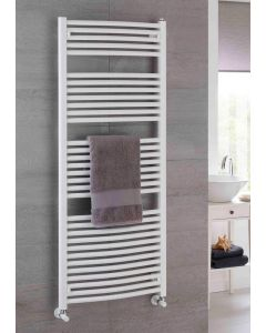TRC Poppy Steel Curved White Heated Towel Rail
