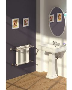 Reina Camden Steel Wall Mounted Traditional Heated Towel Rail Chrome and White