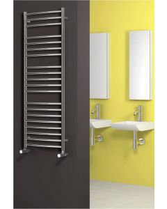 Reina Eos Polished Curved Stainless Steel Heated Towel Rail