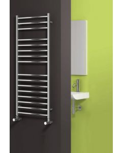 Reina Luna Flat Polished Straight Stainless Steel Heated Towel Rail