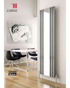 Carisa Tallis Mirror Aluminium Black Horizontal Designer Radiator 470mm x 1800mm