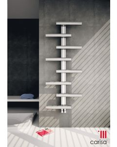 Carisa Vivi Brushed Stainless Steel Designer Heated Towel Rail 1000mm x 500mm